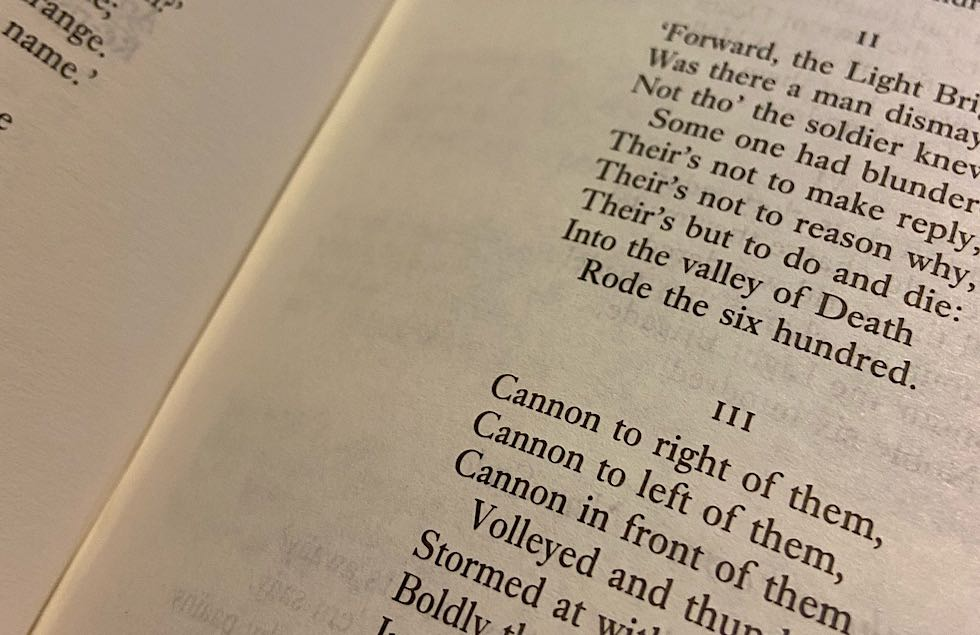 A passage from Charge of the Light Brigade