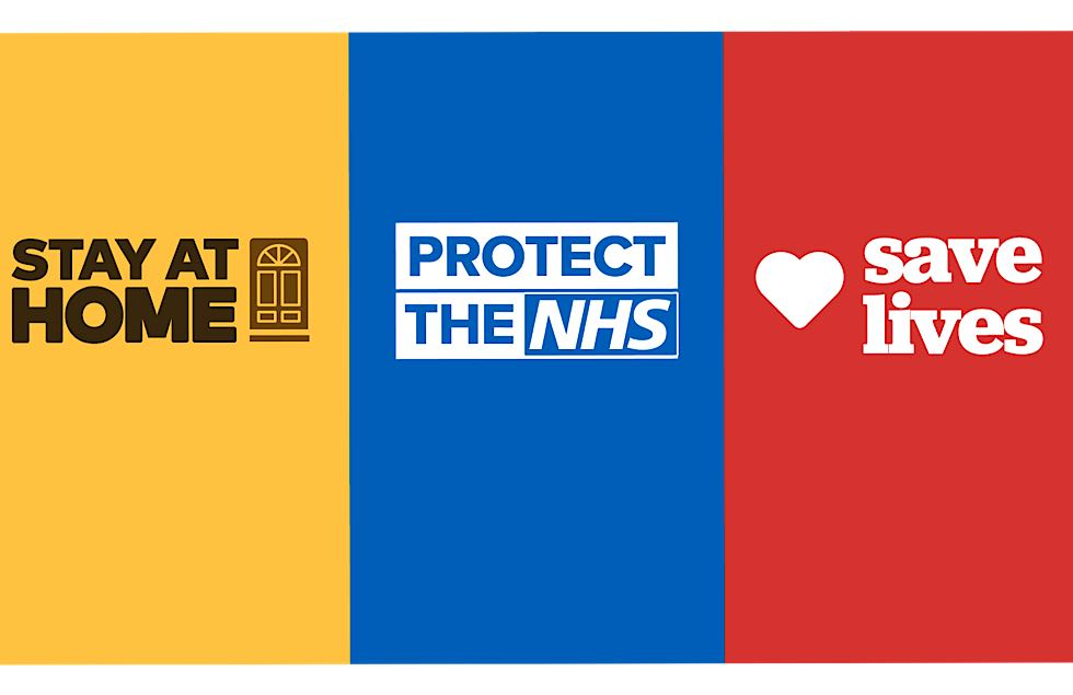 The Conservative slogan for coronavirus: Stay home, Protect the NHS, Save lives